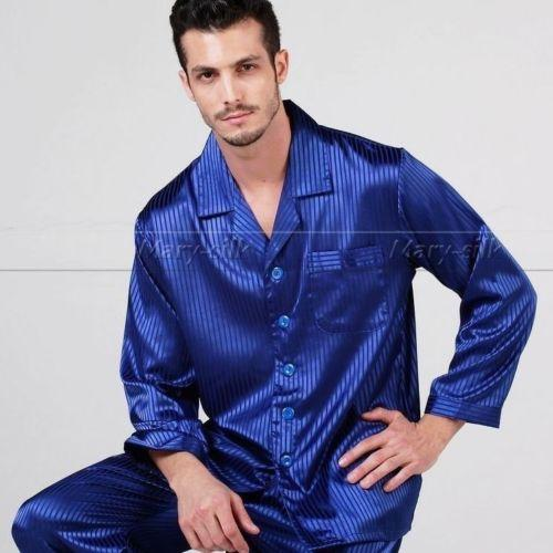 Mens Silk Satin Pajamas Set pajamas for men big and tall sleepwear ... 610049eb0