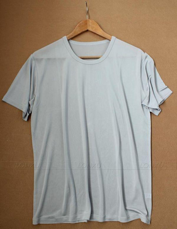 Mens 100 Silk Top T Shirts Shirts Classic Crew Neck