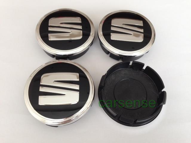 seat chrome 60mm autocollant centre de roue cache moyeu jante alu noir ebay. Black Bedroom Furniture Sets. Home Design Ideas