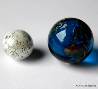 Earth Amp Moon Marble Set 22 Amp 15mm Detailed Glass
