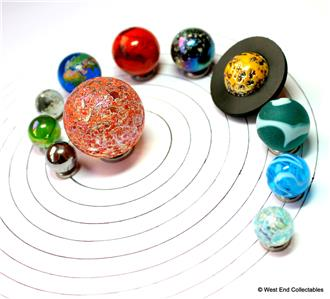 Large Solar System Orrery Planet 11 X Glass Marbles Set