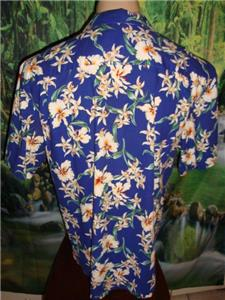 4721e5b0f Vtg 80's ROYAL CREATIONS 3XL Hawaiian Aloha Shirt Blue Floral MADE ...