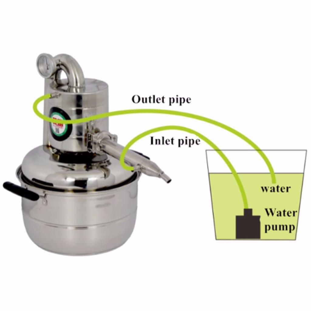 971749906_o 10L-15L  Alambique Destilador Termometro Inoxidable Enfriador Vino Agua Aceite