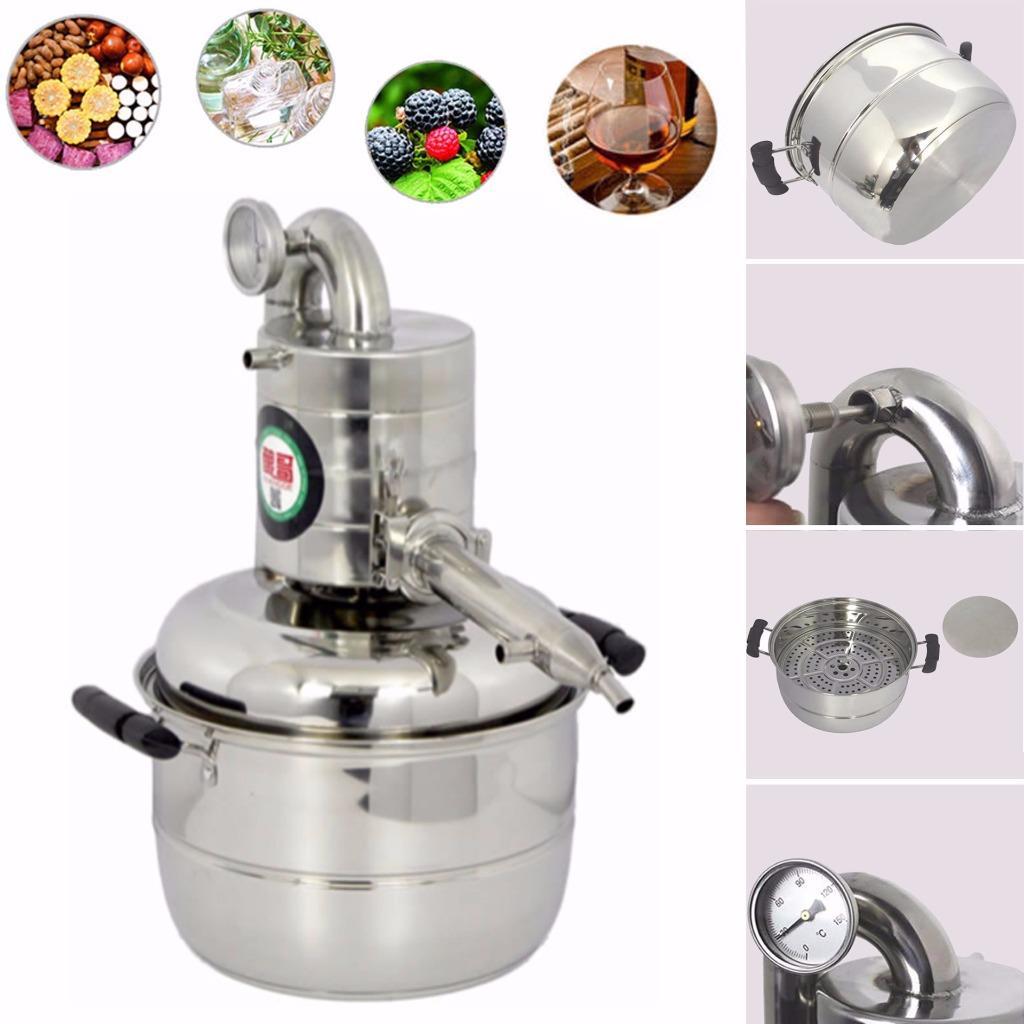 971749929_o 10L-15L  Alambique Destilador Termometro Inoxidable Enfriador Vino Agua Aceite