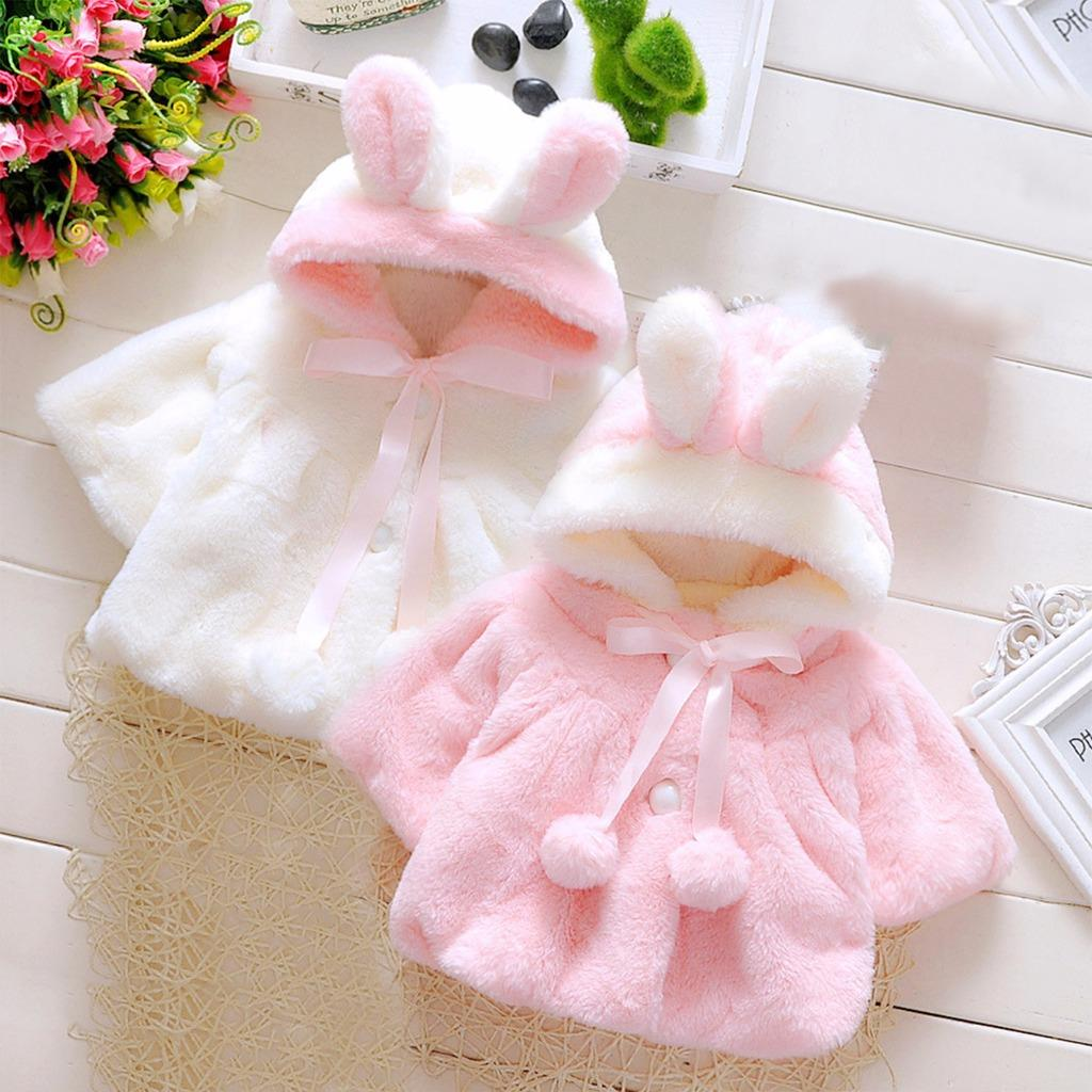 28f5d8f28 Baby Girl Kids Rabbit Ears Hoodies Coat Clothes Winter Thick Warm ...