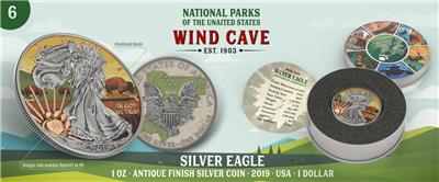 USA 2019 $1 US National Park WIND CAVE 1 Oz Silver Coin mintage 99 pcs