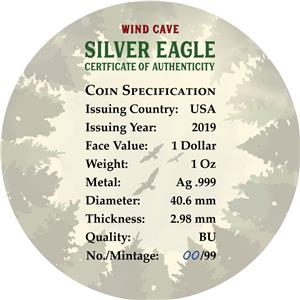 WIND CAVE 1 Oz Silver Coin 99 pcs only PRESALE USA 2019 $1 US National Park