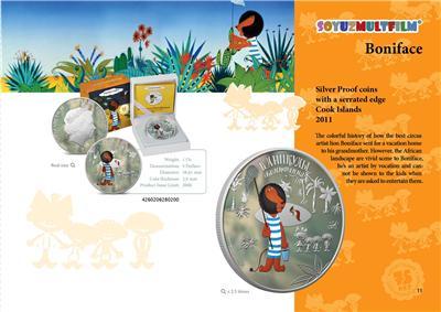 Cook Islands 2011 $5 Soyuzmultfilm Boniface/'s Holiday 1 Oz Silver Proof Coin