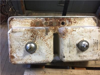 Vintage Double Compartment Porcelain Cast Iron Farm House