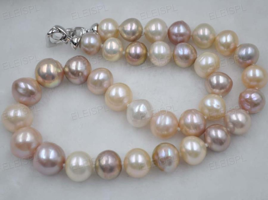 Gorgeous 11 14mm multi colored nucleated pearl necklace ebay for Fall into color jewelry walmart