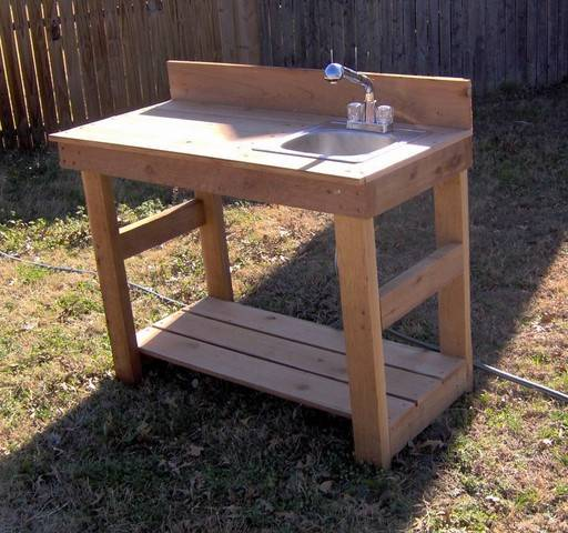 NEW 4FT CEDAR POTTING BENCH GARDENING BENCHES WITH SINK ... on Patio Sink Station id=93639