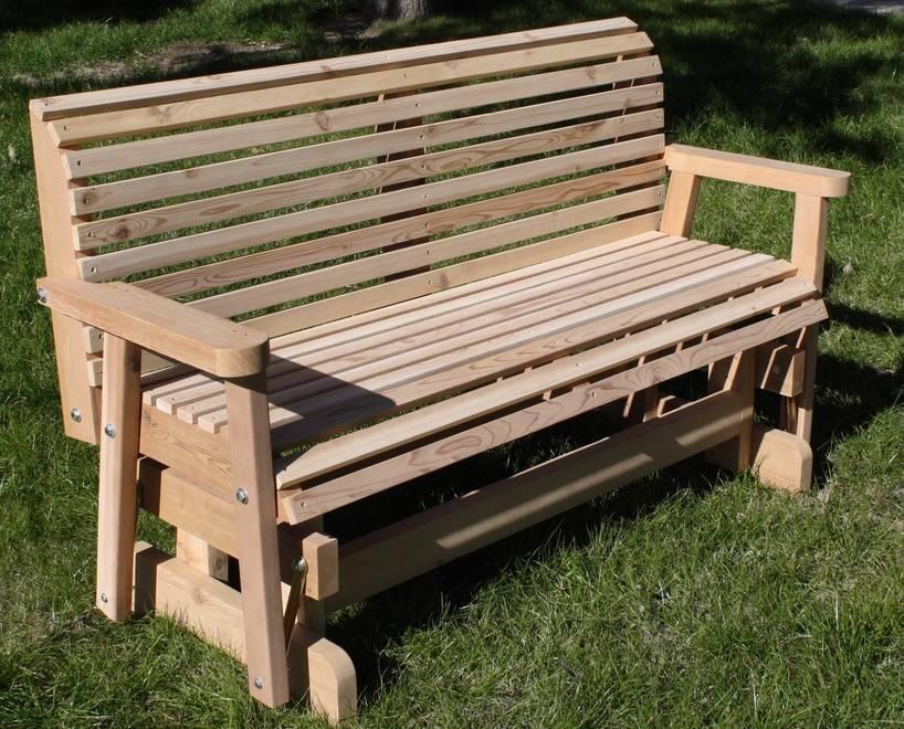 Brand New 4 Foot Cedar Wood Classic Outdoor Porch Glider