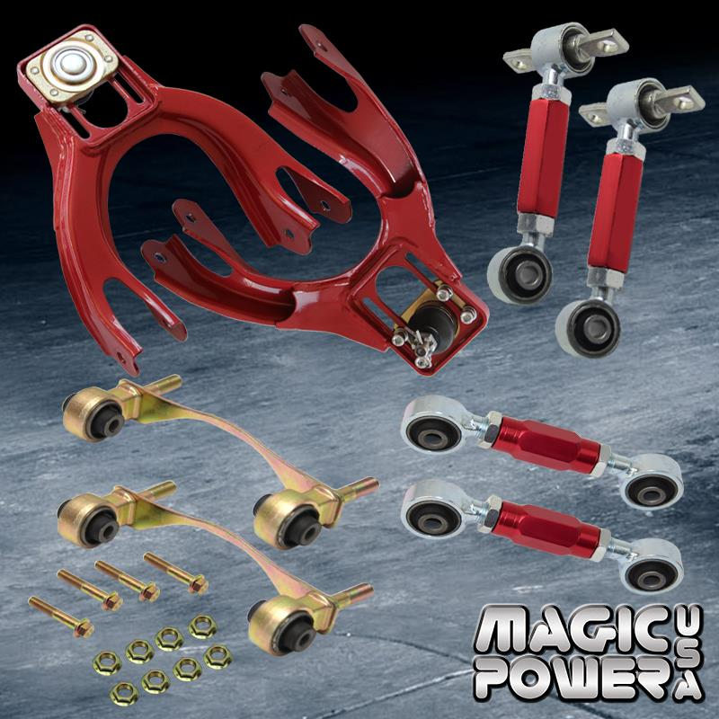 Qiilu Red Front+Rear Camber Arm Control Suspension Kits Alloy Steel Compatible with Honda Civic 1992-1995,for Honda Del Sol 1993-1997,for Acura Integra 1994-2001