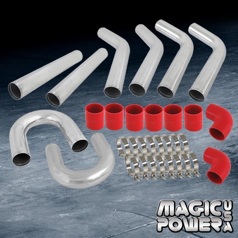 "2.5/"" DIY Chrome Aluminum 12x Turbo Intercooler Piping Kit Red Coupler Universal"