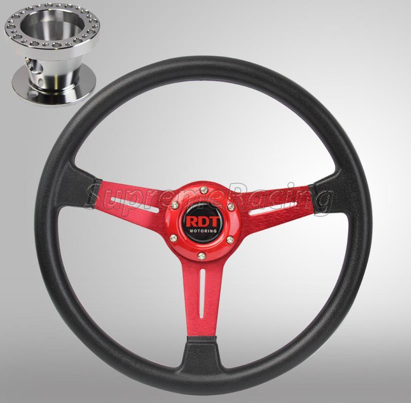 Red Deep Dish PU Steering Wheel Hub Adapter For Mitsubishi Eclipse 1990-2003