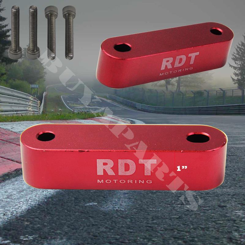 Red Aluminum 22mm Hood Vent Spacer Riser Kit Civic CRX 88-91 Del Sol 93-97