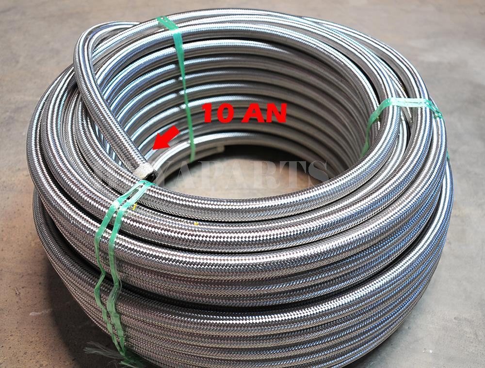 10 AN AN10 10-AN Braided Stainless Steel Turbo Oil Fuel Gas Line Hose 1500 PSI