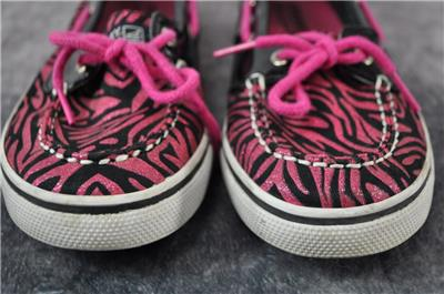 093f5af6 Details about Sperry Top-Sider Womens Pink and Black Boat Shoes Zebra  Stripes Size 5