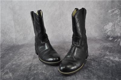 616f80829944 Justin Junior Boys Cowboy Boots Black Size 3.5 Leather