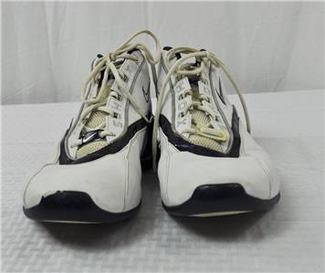 2c73c9d7c589 Nike Shox Zoom Air Navy Blue and White High Tops Basketball Shoes Size 15.5