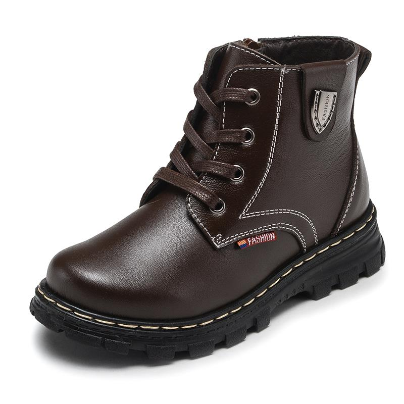 Kids Boys Genuine Leather Winter Ankle Boots Fur Lining