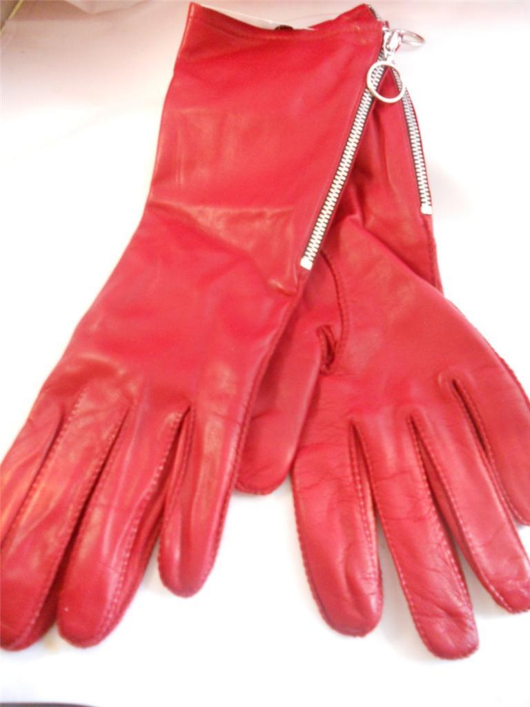 Long Red Zipper Genuine Leather Gloves | eBay