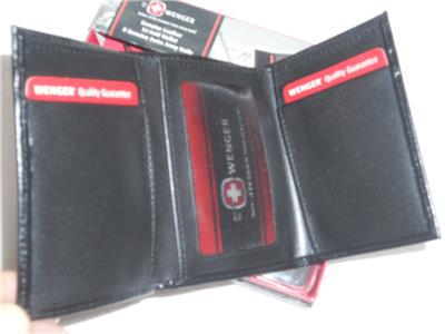 Swiss Army Knife And Polished Leather Trifold Wallet Black