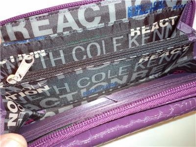 Kenneth Cole Croco Organizer Wallet,Purple