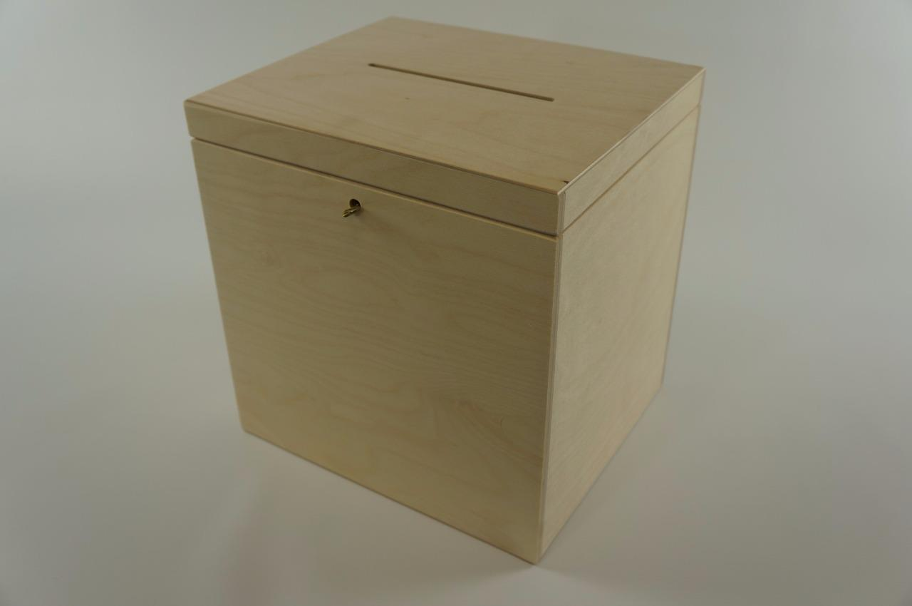 Wooden Lockable Plain Chest Storage Card Box Decoupage
