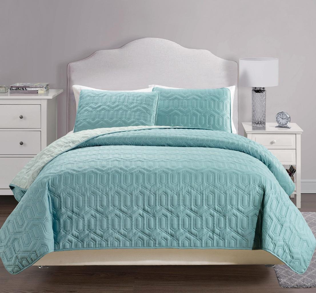 Useful 3 Pcs Reversible Solid Bedspread Quilt Set Cal
