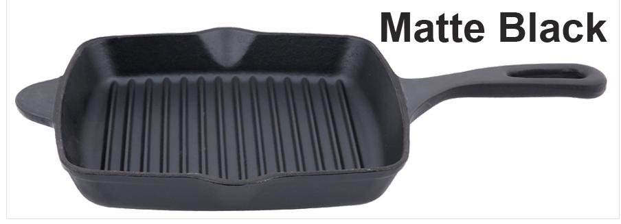 Matte Black Cast Iron Grill Pan