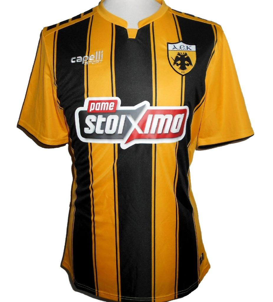 pretty nice a7062 19ce4 Details about AEK ATHENS Capelli Official Home Football Shirt 2018-2019 NEW  Mens Soccer Jersey