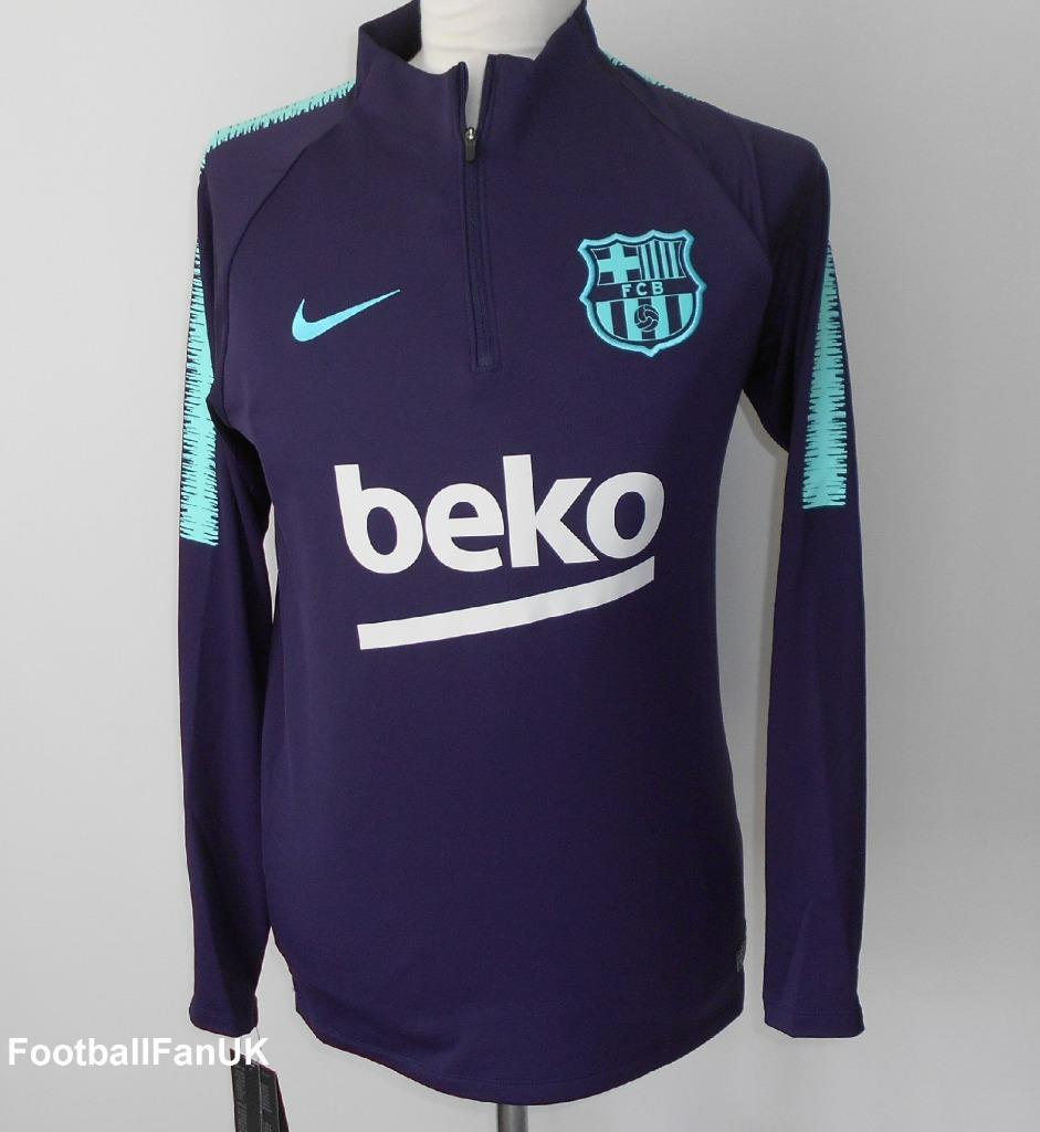 brand new 00fdf 87976 Details about FC BARCELONA Nike 2018-2019 Men's Squad Drill Football  Training Top NEW FCB BNWT