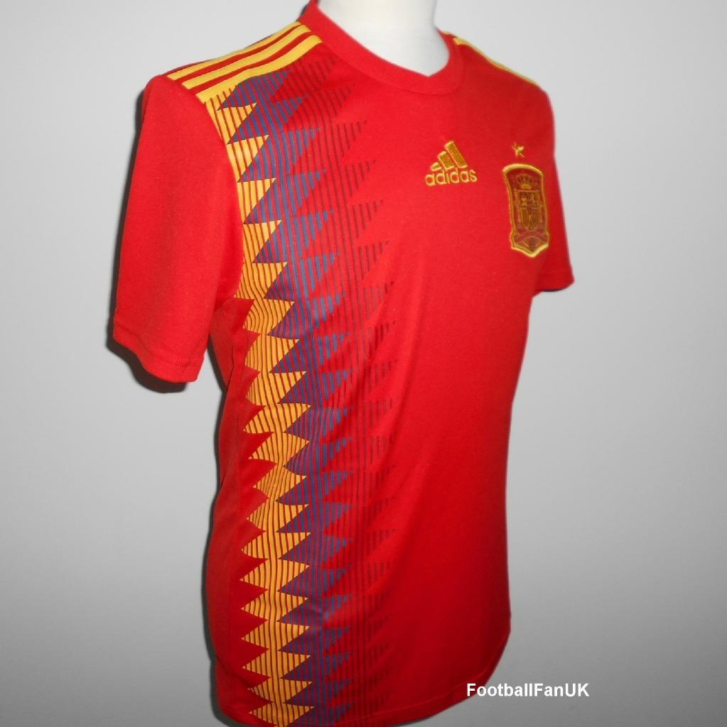 Détails sur Espagne Adidas Officiel Maillot Football Domicile 2018 2019 Neuf España Camiseta