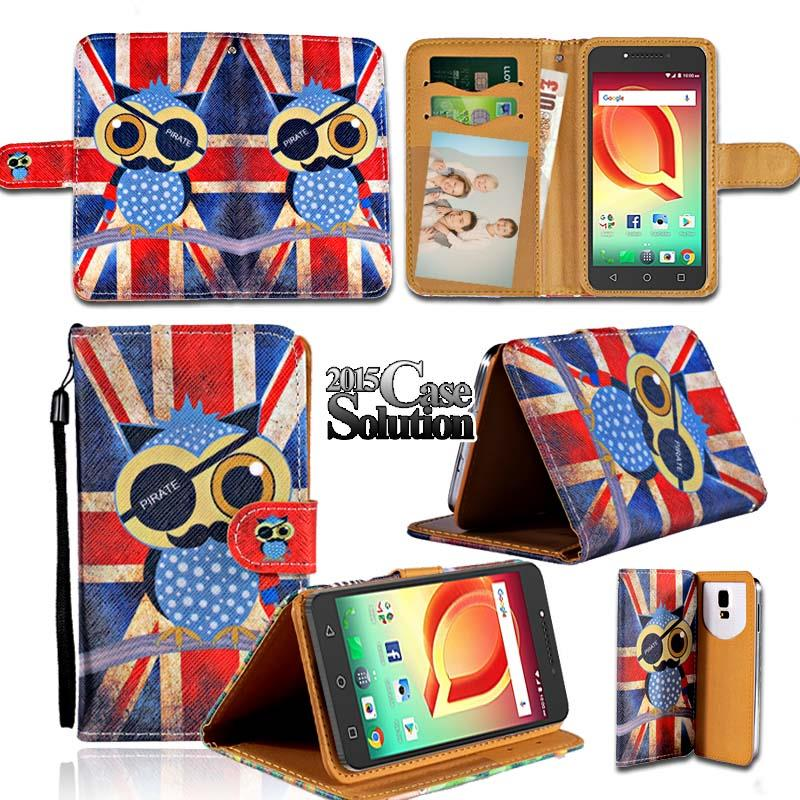 Leather Wallet Stand Magnetic Flip Case Cover For Alcatel ...