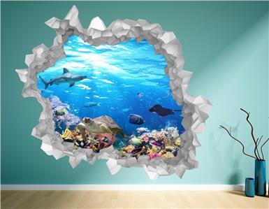 Sea Fish Aquarium Cracked Wall Hole Brick Decal Art Sticker Decal Transfer P6F