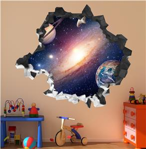 Space Planets Galaxy Cracked Wall Art Sticker Decal Transfer Bedroom Mural Ebay