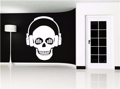 Musica teschio cuffie dj adesivi artistici da parete for Cuffie antirumore per studiare