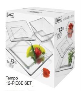 sc 1 st  eBay & Libbey Glass Tempo 12pc Clear Square Dinnerware Set #55619 | eBay