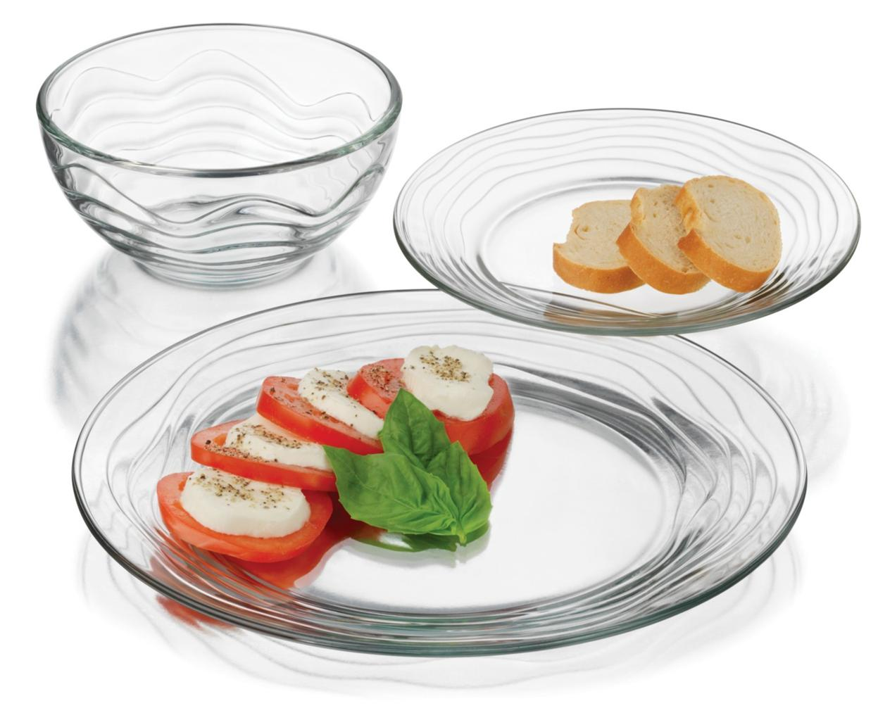 Libbey Glass 12 pc Clear Orbita Wavy Lines Dinnerware Set ...