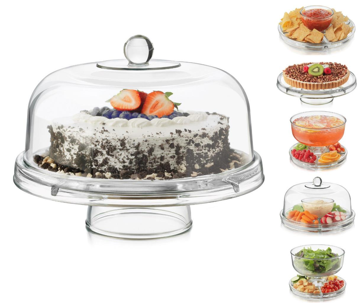 Entertaining has never been easier with Libbey\u0027s 6 in 1 server. The multi-purpose glass dome and server can be used as a punch bowl relish tray cake dome ...  sc 1 st  eBay & Libbey Vidro Selene 6 Em 1 Multi Função servidor Prato De Bolo Punch ...