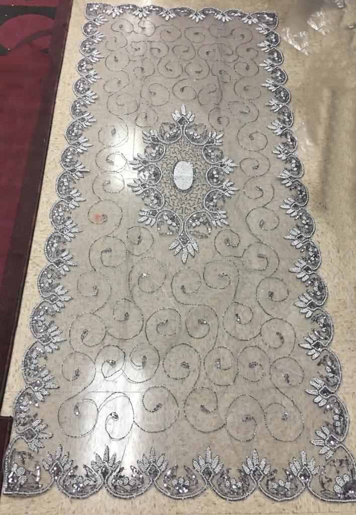Stunning Silver Hand Beaded Table Runner 110cmx200cm