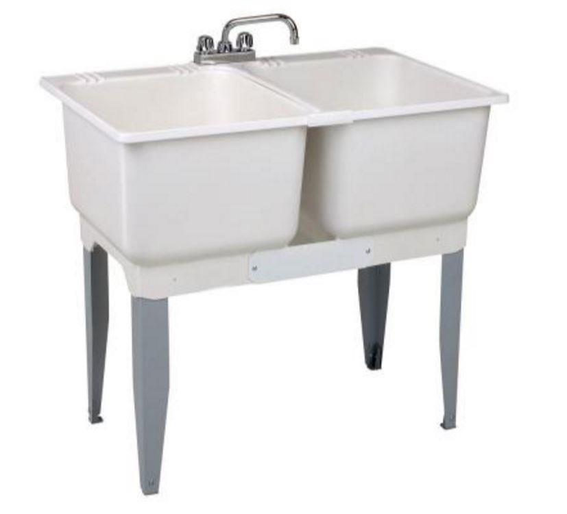 Double Bowl Laundry Tub 30 Gal Freestanding Plastic