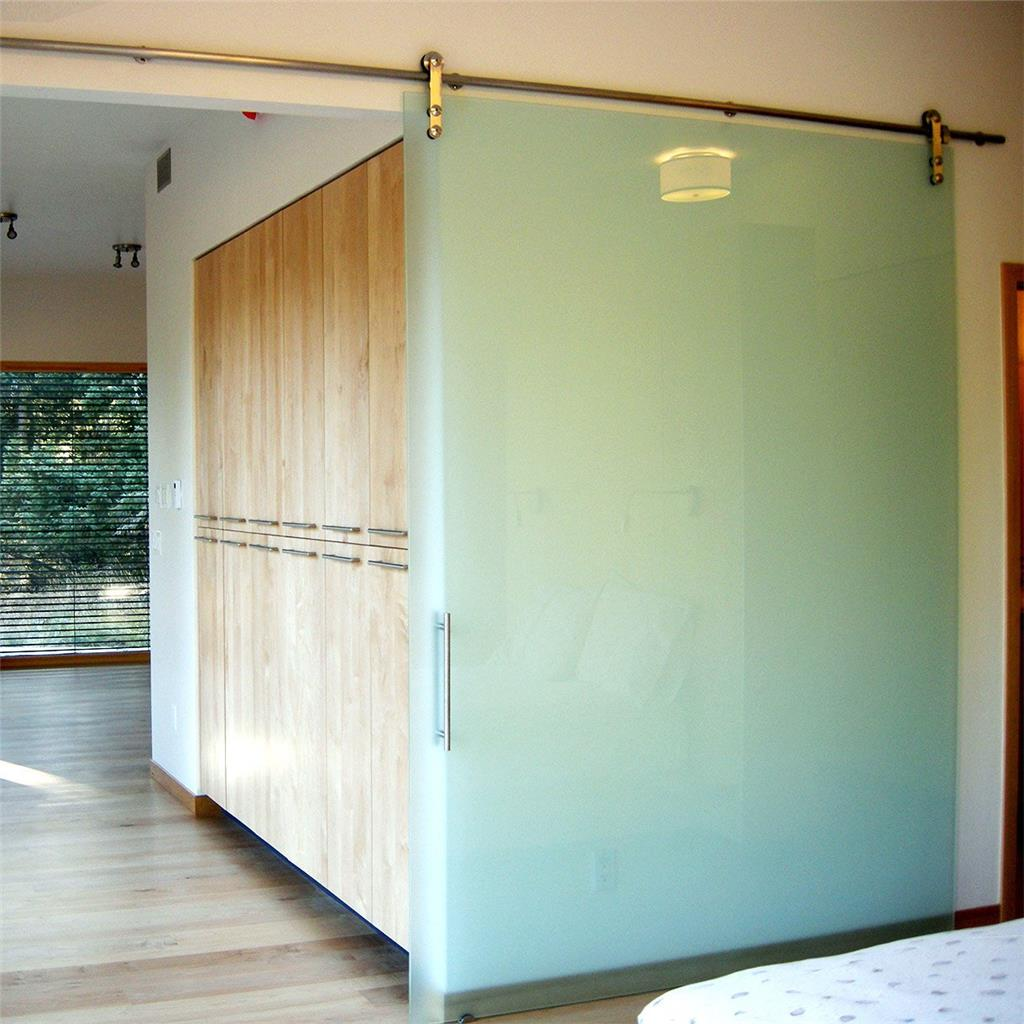 Modern Stainless Steel Interior Sliding Glass Barn Door