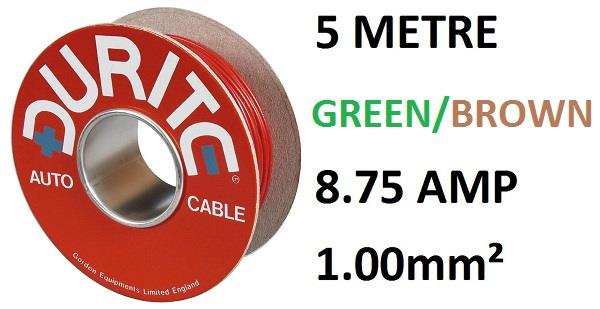 SINGLE CORE 1MM PVC AUTO CABLE 5 METRES DURITE 0-942-43 BROWN AND GREEN 14//0.30