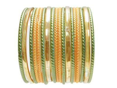 Details about Glass Bangles Indian Classic Sari Bracelet Mehndi Party  Yellow Green Set 2 10 M