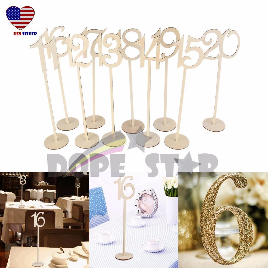 14 Quot Tall Table Number Wooden Stick 11 20 Set W Base For