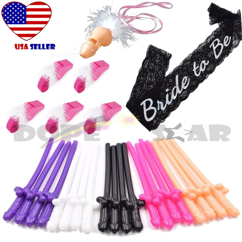 Bachelorette Party Bride To Be Sash 6 Whistle 20 Penis Straw Bridal Shower Kit