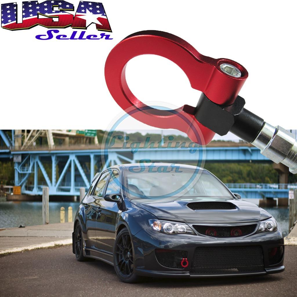 Red Screw On Aluminum Front/Rear Car Trailer Tow Hook Kit