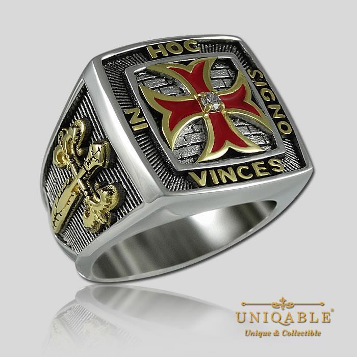 Uniqable Knights Templar Sterling Silver 925 Masonic Gold